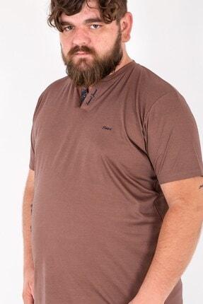 MY LIFE Erkek Kahverengi Düğme Detaylı V Yaka Büyük Beden T-Shirt Tws2559 1