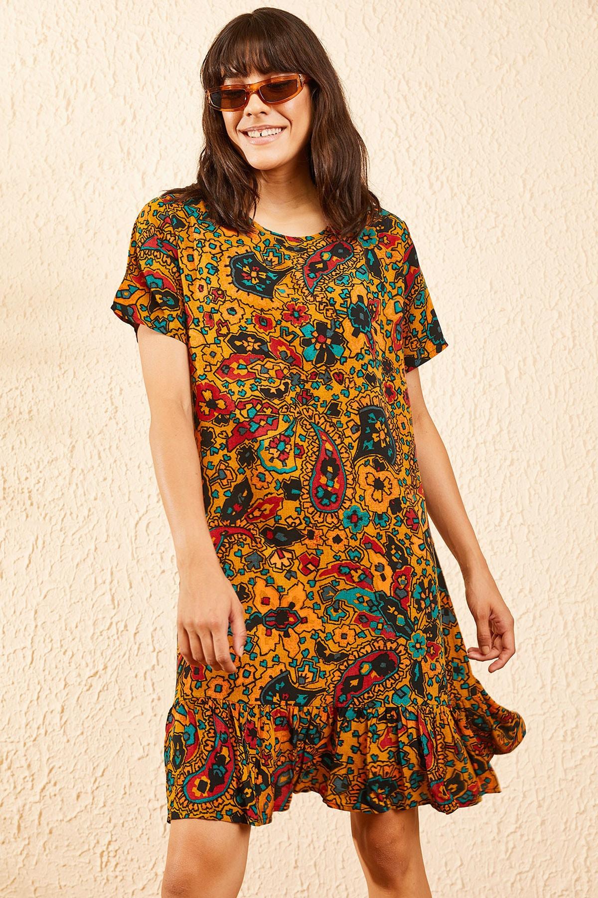 Bianco Lucci Kadın Hardal Kadın Etnik Desen Kısa Kollu Eteği Fırfırlı Elbise 10101017 0
