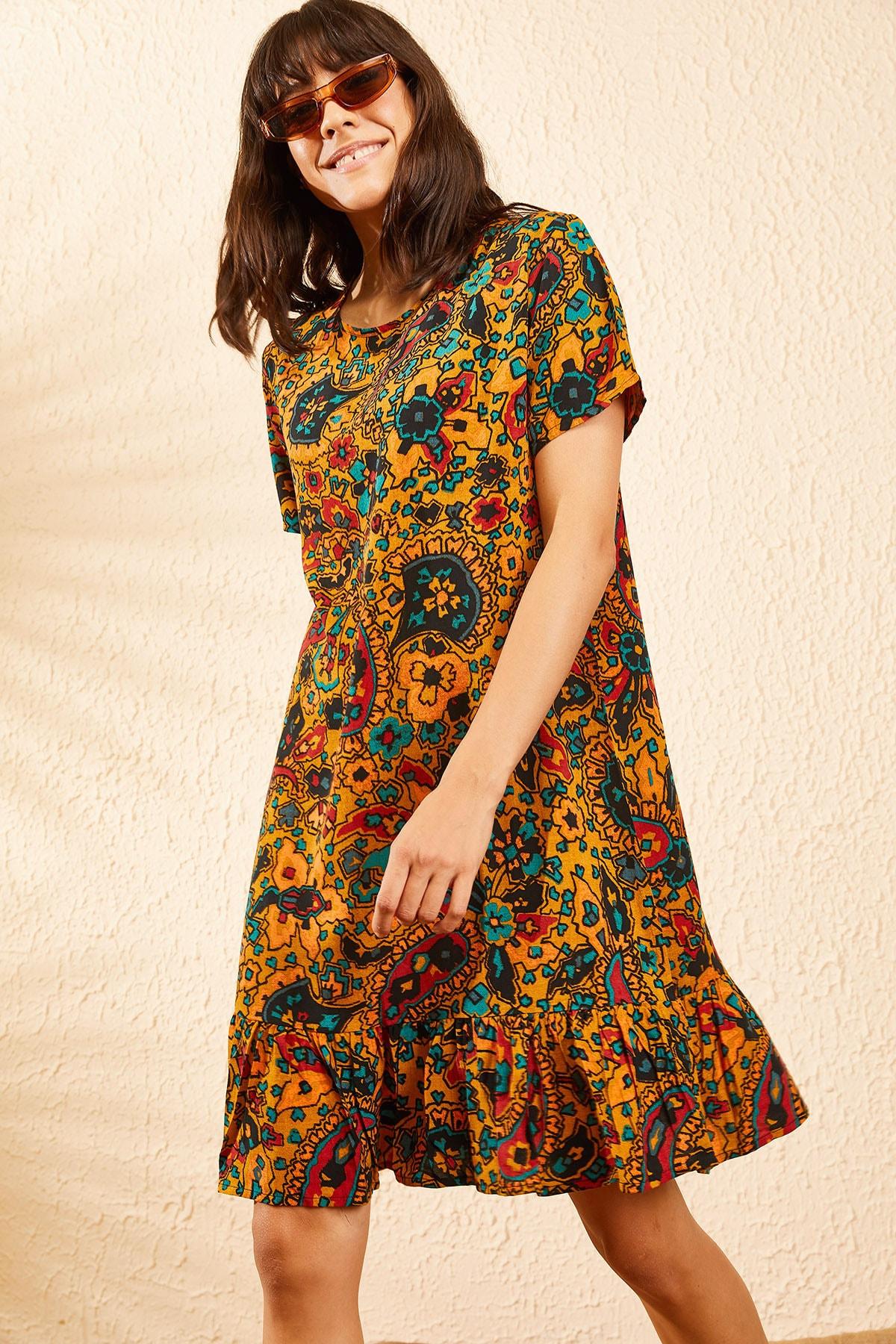 Bianco Lucci Kadın Hardal Kadın Etnik Desen Kısa Kollu Eteği Fırfırlı Elbise 10101017 2
