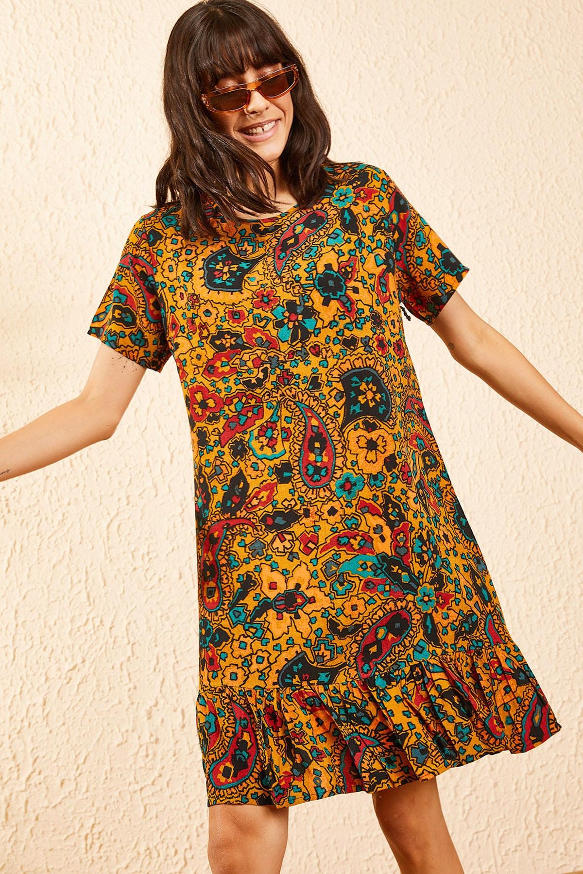 Bianco Lucci Kadın Hardal Kadın Etnik Desen Kısa Kollu Eteği Fırfırlı Elbise 10101017 4