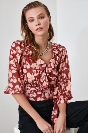 TRENDYOLMİLLA Kiremit Bağlamalı Çiçekli Bluz TWOAW21BZ0278 0