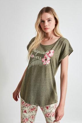 TRENDYOLMİLLA Çiçek Desenli Örme Pijama Takımı THMSS20PT0083 3