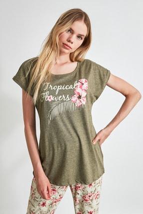 TRENDYOLMİLLA Çiçek Desenli Örme Pijama Takımı THMSS20PT0083 2
