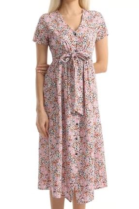 MD trend Kadın Pembe Çiçek Desenli Kuşaklı Gömlek Elbise Mdt6795 3