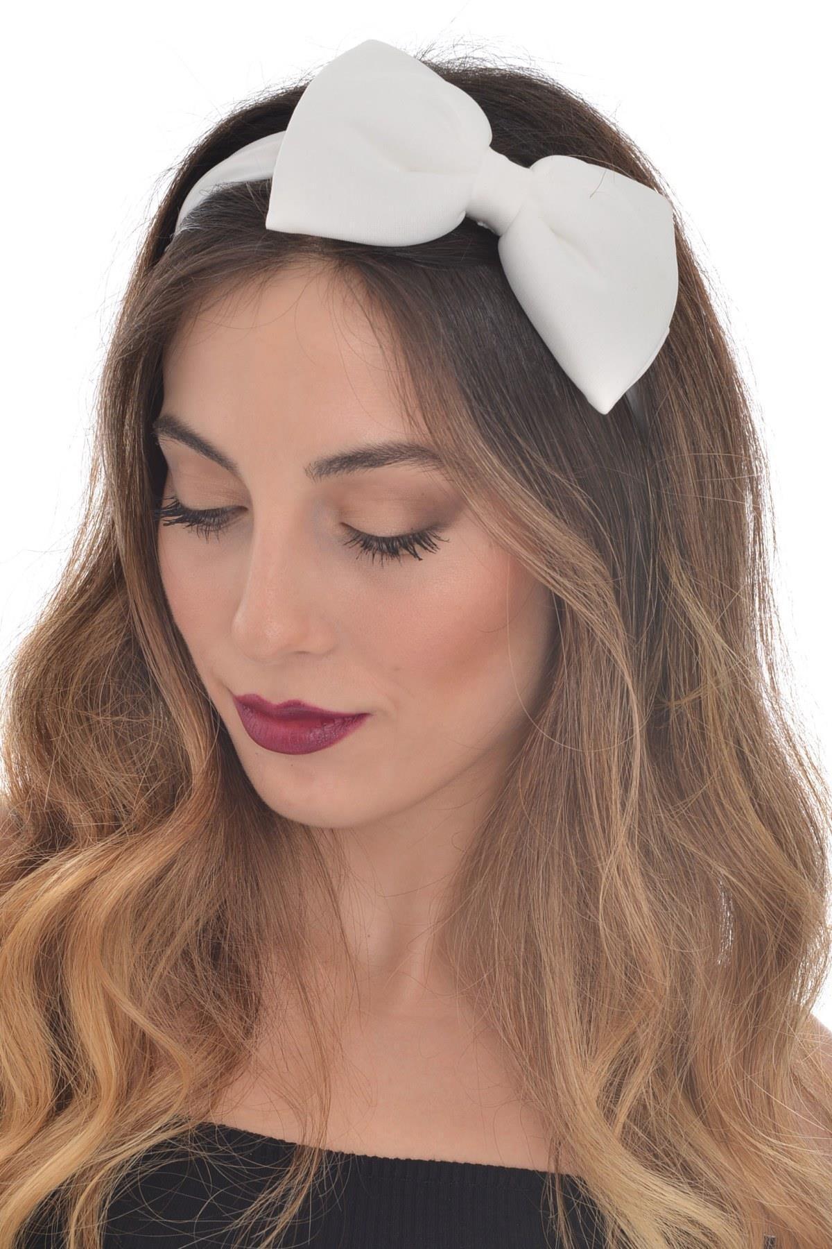hahai accessories Hahai Kadın Lastikli Beyaz Saç Bandı 0