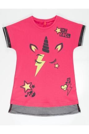 Mushi Kız Çocuk Fuşya Unicorn Rock Baskılı Elbise 2