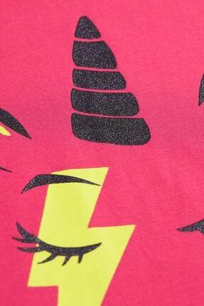 Mushi Kız Çocuk Fuşya Unicorn Rock Baskılı Elbise 4