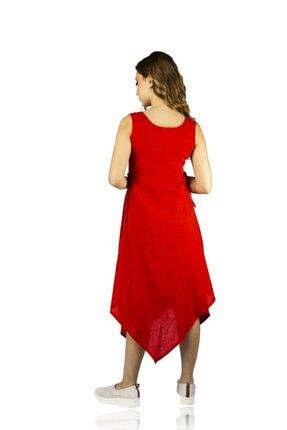 Eliş Şile Bezi Kadın Kırmızı Üçgen Katlı Elbise 1