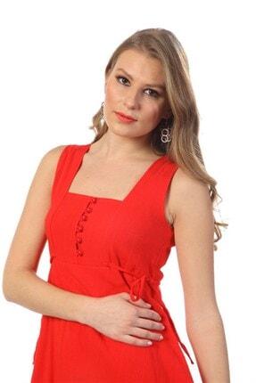 Eliş Şile Bezi Kadın Kırmızı Üçgen Katlı Elbise 3