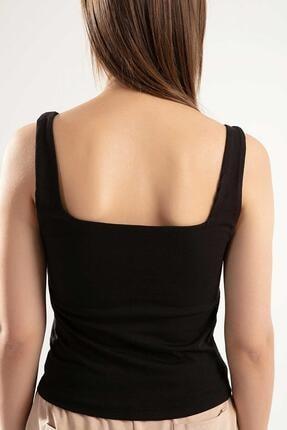 Pattaya Kadın Siyah Basic Kare Yaka Askılı Bluz PTTY20S-4260 3