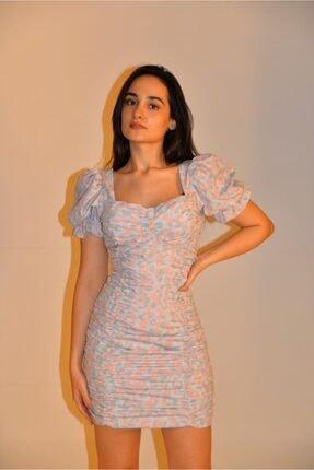 Cermen Desing Kadın Gri Balon Kollu Büzgülü Mini Elbise 2