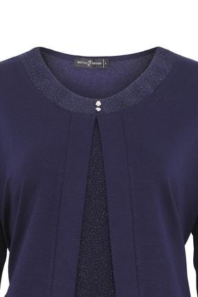 Butik Triko Kadın Lacivert Simli Takım Görünümlü Penye Bluz 3689 2