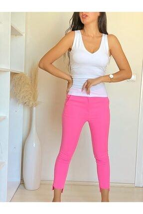 ElModa Boutique Kadın Fuşya Paça Detaylı Pantolon 2
