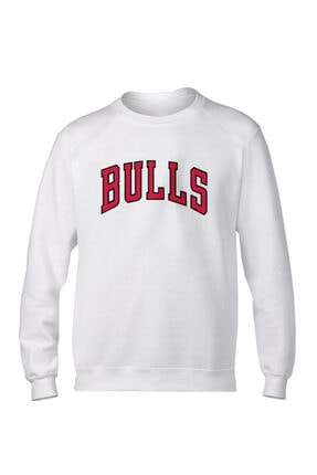 Fanatico Beyaz Chicago Bulls Basic Sweatshirt 0