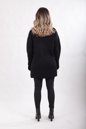 diezbutik Kadın Siyah Düğmeli Uzun Hırka 2