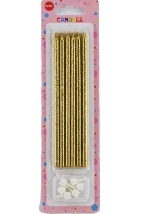 Partifabrik Gold Rengi Uzun Pasta Mumu  6 'lı 1