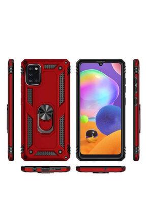 Telefon Aksesuarları A31 Yüzüklü Standlı Zırh Kılıf Kırmızı 2