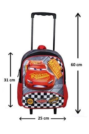 Cars Lisanslı Çekçekli ( Çıkarılabilir Çekçek) Kreş Anaokulu Ve Günlük Kullanım Çantası + Suluk 1