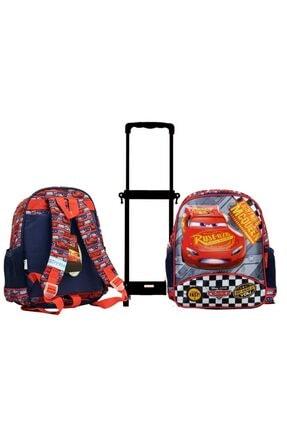 Cars Lisanslı Çekçekli ( Çıkarılabilir Çekçek) Kreş Anaokulu Ve Günlük Kullanım Çantası + Suluk 2