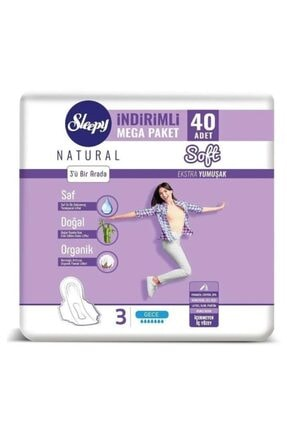 Sleepy Natural Soft Ekstra Yumuşak Gece (40 Ped) Mega Paket 0