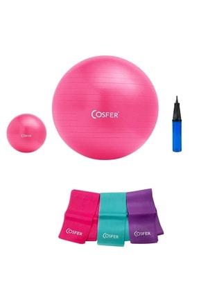 Cosfer 4'lü Set 55 cm+20 cm Pilates Topu 3'lü Pilates Lastiği Büyük Boy Pilates El Pompası 0