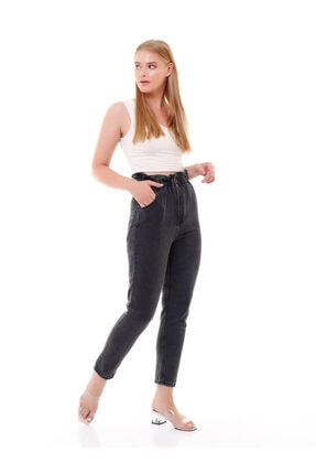 modamevsim Kadın Gri Lastikli Denim Pantolon 4