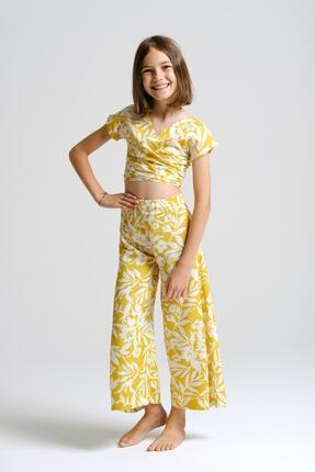 Linda&Mila Kız Çocuk Sarı Çiçek Desenli Bol Pantolon 0
