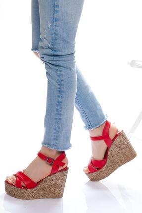 -dolgu Topuklu Ayakkabı-kırmızı ABN0400