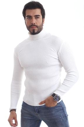 ChokModa Erkek Beyaz Balıkçı Yaka Slim Fit Fitilli Triko Kazak 1