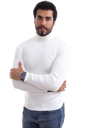 ChokModa Erkek Beyaz Balıkçı Yaka Slim Fit Fitilli Triko Kazak 2