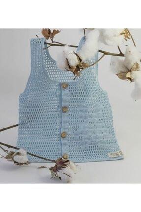 Organic Bonny Baby Mavi Organik Bebek Yeleği Dantel El Yapımı Özel Tasarım 0