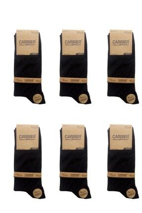 çorapmanya Siyah Erkek Bambu Soket / 6 Çift / 200 Iğne / Burun Dikişsiz 0
