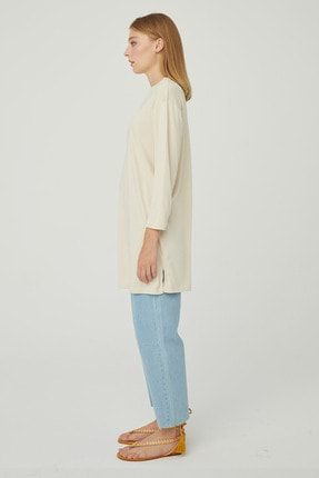 Hooopstore Kadın Krem Peru Pamuk Uzun Kol Basic Sweatshirt 1