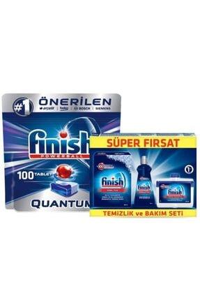 Finish Quantum Bulaşık Makinesi Deterjanı 100 Tablet Ve Temizlik Bakım Seti 0