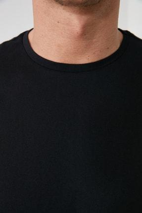 TRENDYOL MAN Siyah Erkek Basic Pamuklu Kısa Kollu Bisiklet Yaka  Slim Fit T-Shirt - TMNSS19BO0001 3