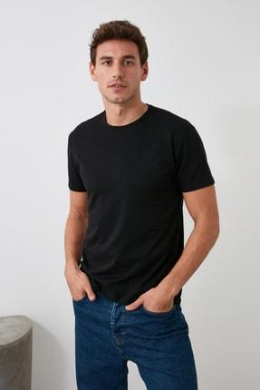 TRENDYOL MAN Siyah Erkek Basic Pamuklu Kısa Kollu Bisiklet Yaka  Slim Fit T-Shirt - TMNSS19BO0001 2