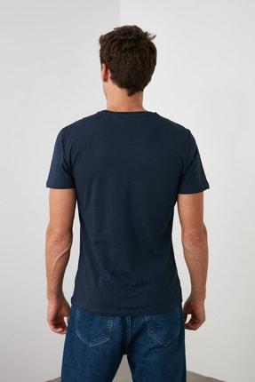 TRENDYOL MAN Lacivert Erkek Basic Pamuklu Kısa Kollu Bisiklet Yaka  Slim Fit T-Shirt - TMNSS19BO0001 4