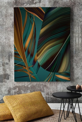 KanvasSepeti Yaprak Desenli Cizgisel Soyut Kanvas Canvas Tablo Dekoratif Tablolar 0