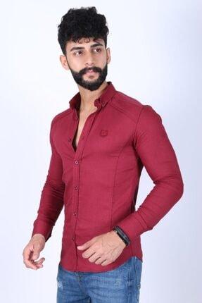 JİYAN Erkek Bordo Gömlek 1