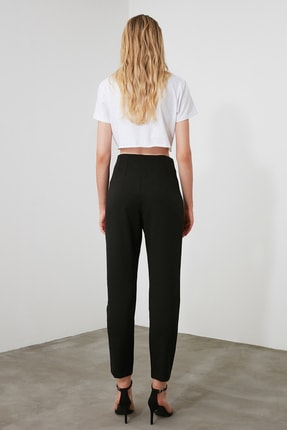 TRENDYOLMİLLA Siyah Yüksek Bel Pensli  Pantolon TWOSS20PL0515 4