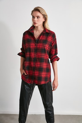 TRENDYOLMİLLA Bordo Ekose Ceket Gömlek TWOAW20GO0139 1