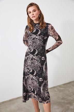TRENDYOLMİLLA Siyah Desenli Tül Örme Elbise TWOAW20EL2035 4