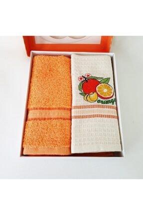 Sanalbolluk Portakal Resimli Mutfak Havlusu İkili Paket 1