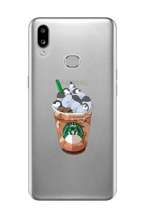 Mupity Samsung A10s Penguen Kahve Tasarımlı  Şeffaf Telefon Kılıfı 0