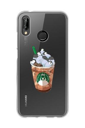 Mupity Penguen Kahvetasarımlı Huawei P20 Lite Şeffaf Telefon Kılıfı 0