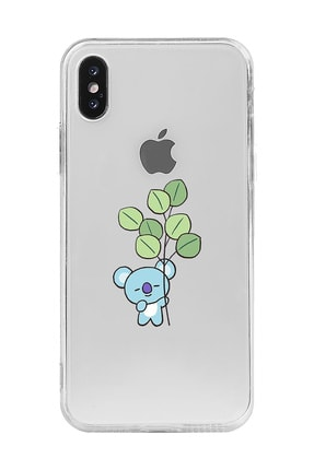 Mupity Yapraklı Koala Tasarımlı Iphone X Şeffaf Telefon Kılıfı 0