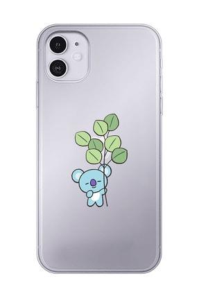 Mupity Yapraklı Koala Tasarımlı Iphone 11 Şeffaf Telefon Kılıfı 0
