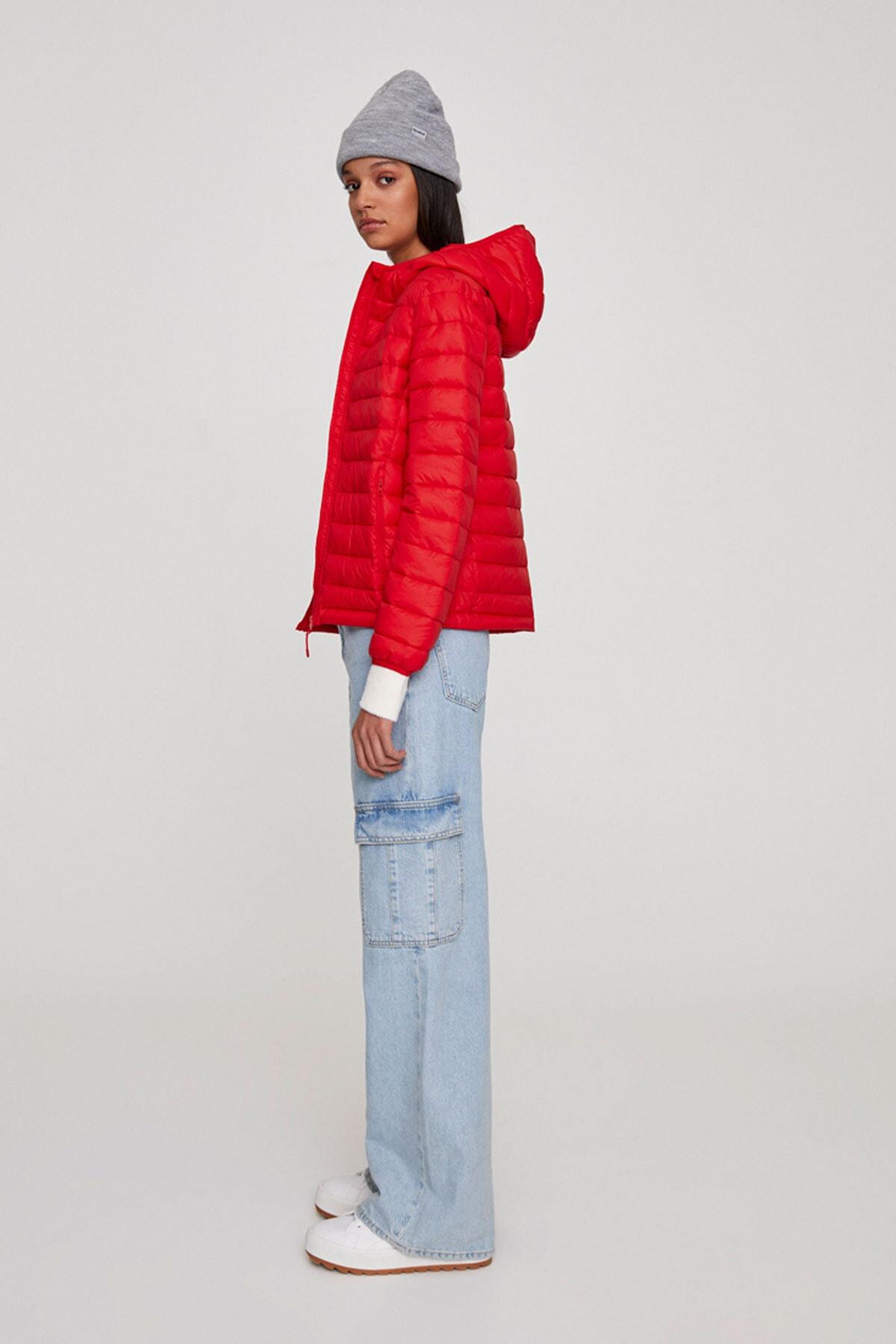 Pull & Bear Kadın Açık Kırmızı Basic Şişme Mont 09714333 2
