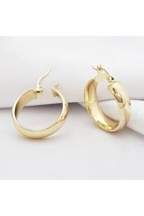 altınplaza Klasik Sade ve Oval Tasarım Altın Halka Küpe Modeli 2