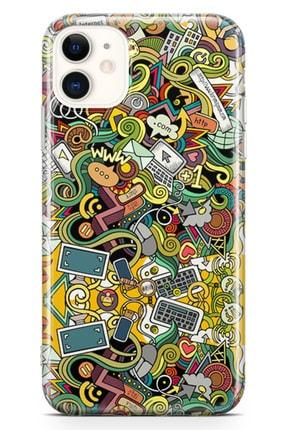 Lopard Apple Iphone 11 Kılıf Wireless Doodle Arka Kapak Koruma Desenli Full Koruyucu 0
